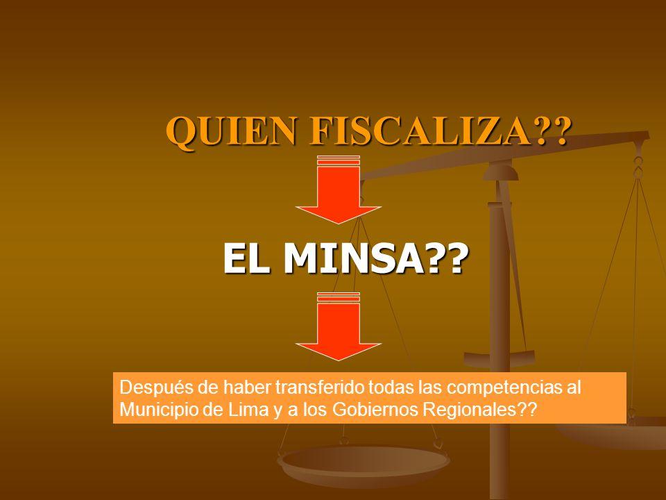 QUIEN FISCALIZA?? EL MINSA?? Después de haber transferido todas las competencias al Municipio de Lima y a los Gobiernos Regionales??