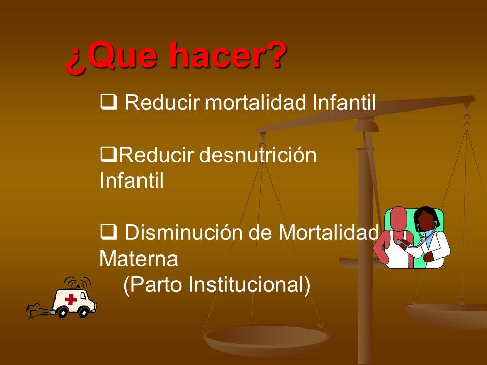 ¿Que hacer? Reducir mortalidad Infantil Reducir desnutrición Infantil Disminución de Mortalidad Materna (Parto Institucional)