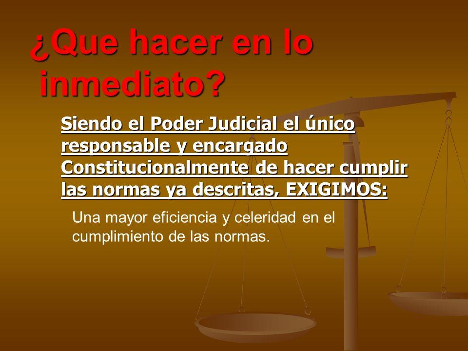 Siendo el Poder Judicial el único responsable y encargado Constitucionalmente de hacer cumplir las normas ya descritas, EXIGIMOS: ¿Que hacer en lo inm