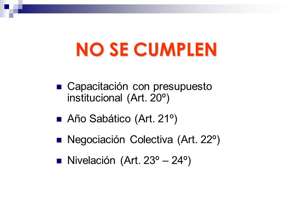 NO SE CUMPLEN Capacitación con presupuesto institucional (Art. 20º) Año Sabático (Art. 21º) Negociación Colectiva (Art. 22º) Nivelación (Art. 23º – 24