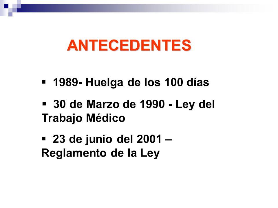 1989- Huelga de los 100 días 30 de Marzo de 1990 - Ley del Trabajo Médico 23 de junio del 2001 – Reglamento de la Ley ANTECEDENTES