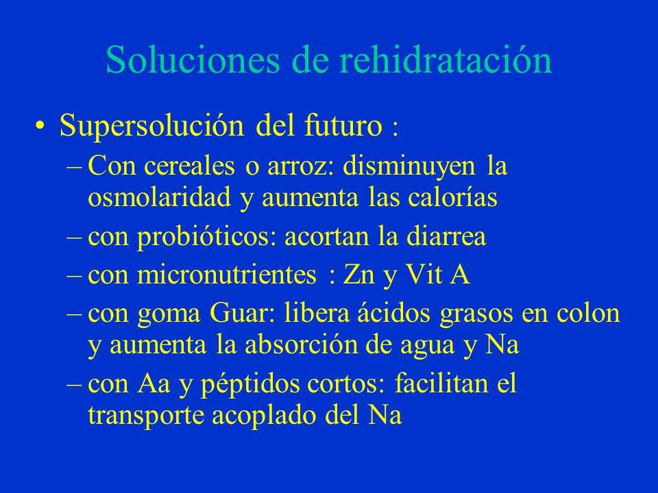Soluciones de rehidratación Supersolución del futuro : –Con cereales o arroz: disminuyen la osmolaridad y aumenta las calorías –con probióticos: acort