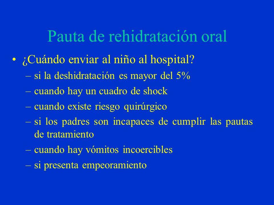 Pauta de rehidratación oral ¿Cuándo enviar al niño al hospital? –si la deshidratación es mayor del 5% –cuando hay un cuadro de shock –cuando existe ri