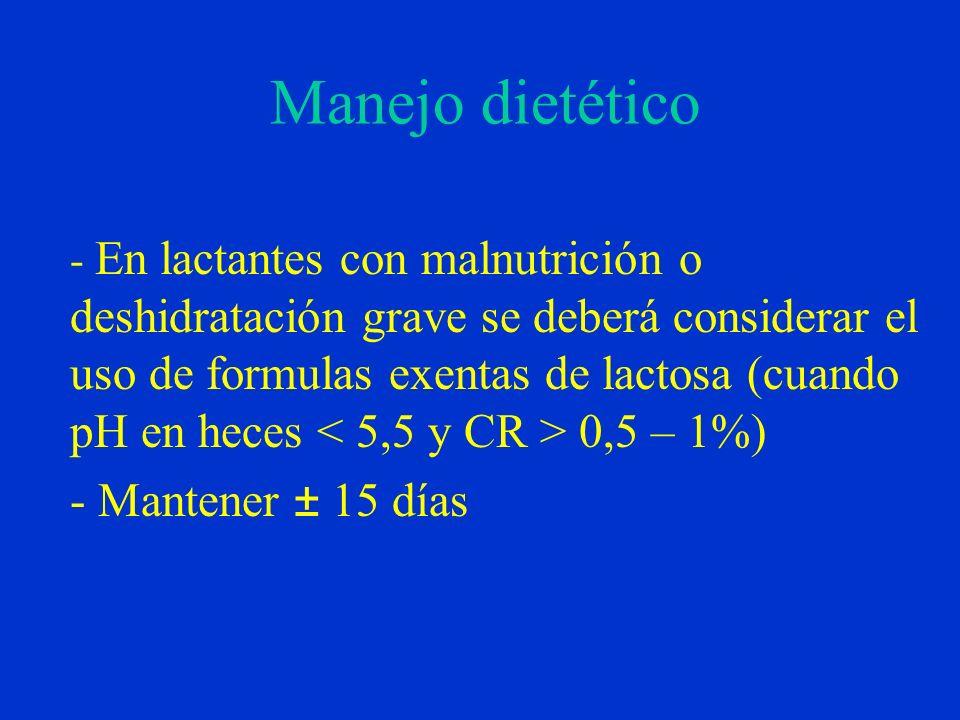 Manejo dietético - En lactantes con malnutrición o deshidratación grave se deberá considerar el uso de formulas exentas de lactosa (cuando pH en heces 0,5 – 1%) - Mantener ± 15 días