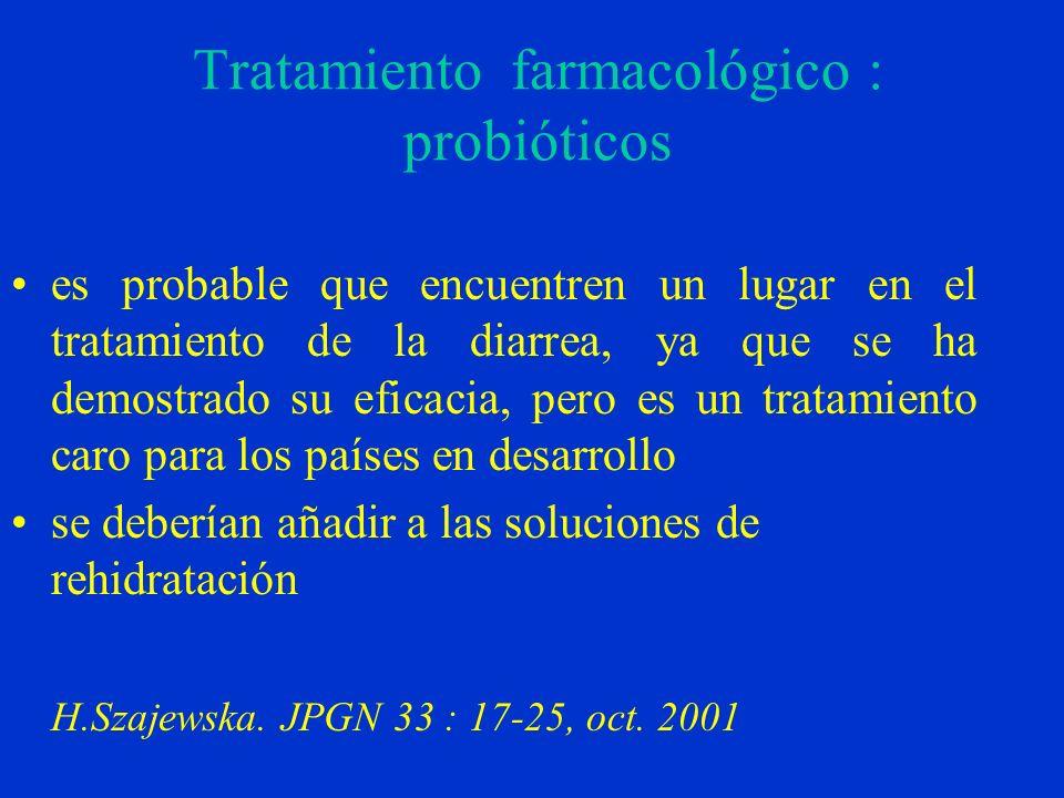 Tratamiento farmacológico : probióticos es probable que encuentren un lugar en el tratamiento de la diarrea, ya que se ha demostrado su eficacia, pero es un tratamiento caro para los países en desarrollo se deberían añadir a las soluciones de rehidratación H.Szajewska.