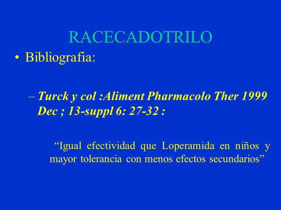 RACECADOTRILO Bibliografia: –Turck y col :Aliment Pharmacolo Ther 1999 Dec ; 13-suppl 6: 27-32 : Igual efectividad que Loperamida en niños y mayor tol