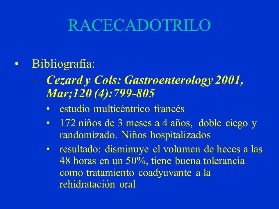 RACECADOTRILO Bibliografía: –Cezard y Cols: Gastroenterology 2001, Mar;120 (4):799-805 estudio multicéntrico francés 172 niños de 3 meses a 4 años, doble ciego y randomizado.