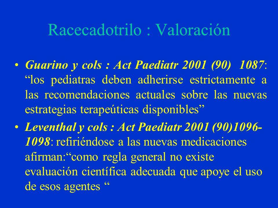 Racecadotrilo : Valoración Guarino y cols : Act Paediatr 2001 (90) 1087: los pediatras deben adherirse estrictamente a las recomendaciones actuales so