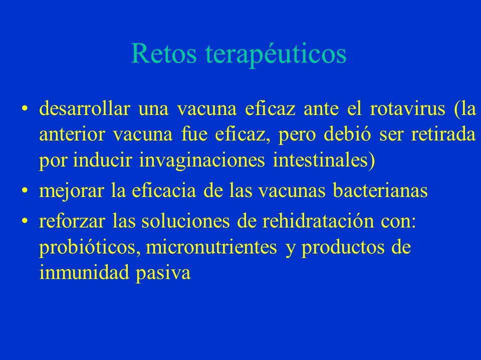 Retos terapéuticos desarrollar una vacuna eficaz ante el rotavirus (la anterior vacuna fue eficaz, pero debió ser retirada por inducir invaginaciones intestinales) mejorar la eficacia de las vacunas bacterianas reforzar las soluciones de rehidratación con: probióticos, micronutrientes y productos de inmunidad pasiva