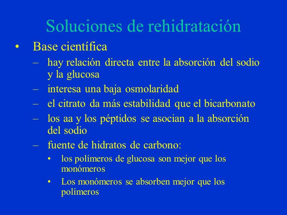 Soluciones de rehidratación Base científica –hay relación directa entre la absorción del sodio y la glucosa –interesa una baja osmolaridad –el citrato da más estabilidad que el bicarbonato –los aa y los péptidos se asocian a la absorción del sodio –fuente de hidratos de carbono: los polímeros de glucosa son mejor que los monómeros Los monómeros se absorben mejor que los polímeros
