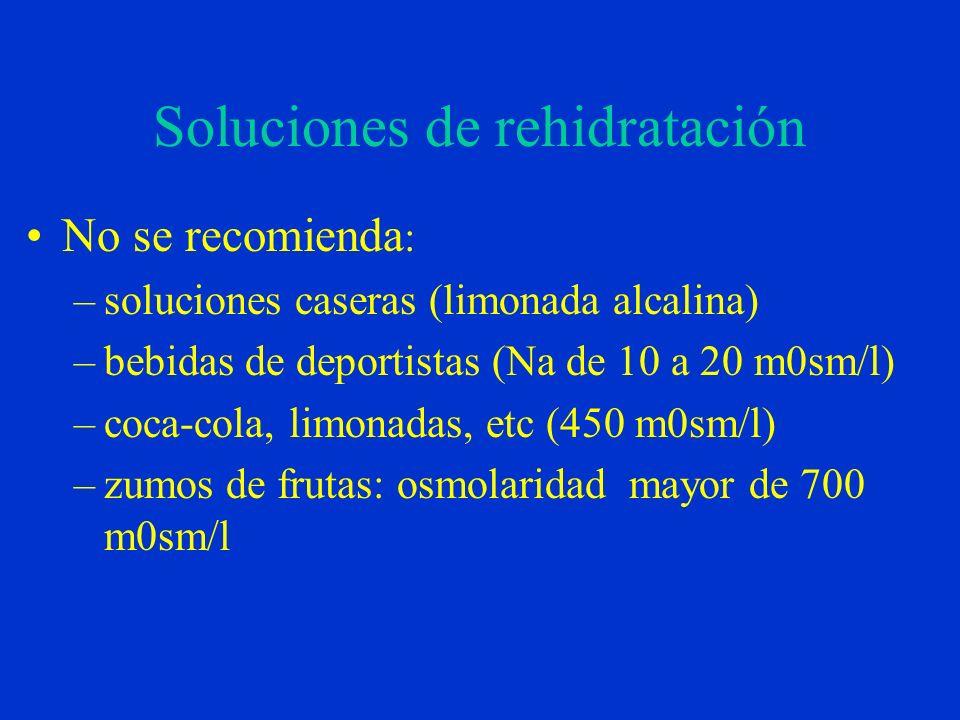 Soluciones de rehidratación No se recomienda : –soluciones caseras (limonada alcalina) –bebidas de deportistas (Na de 10 a 20 m0sm/l) –coca-cola, limonadas, etc (450 m0sm/l) –zumos de frutas: osmolaridad mayor de 700 m0sm/l