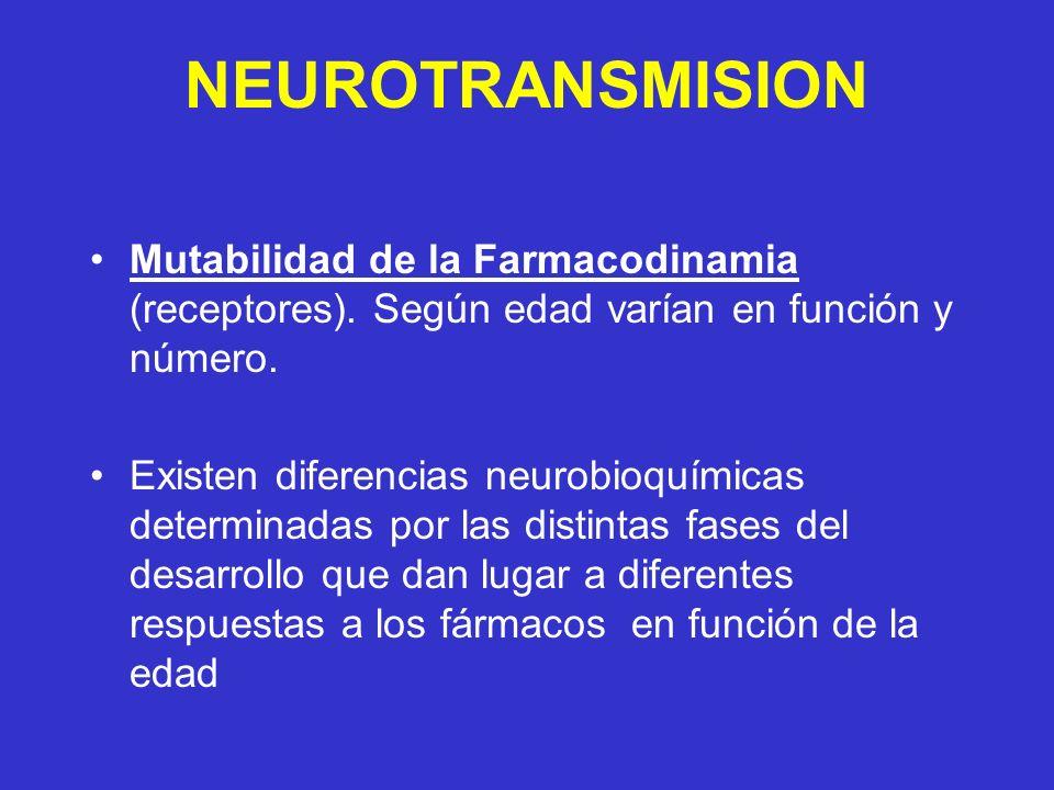 NEUROTRANSMISION Mutabilidad de la Farmacodinamia (receptores). Según edad varían en función y número. Existen diferencias neurobioquímicas determinad