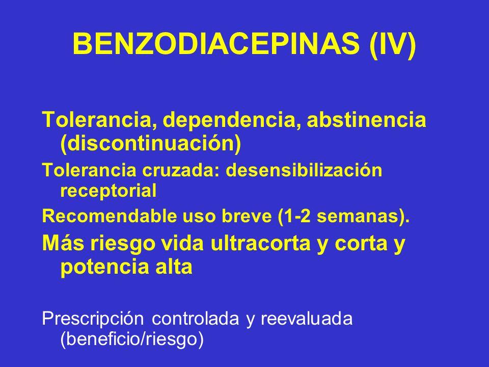 BENZODIACEPINAS (IV) Tolerancia, dependencia, abstinencia (discontinuación) Tolerancia cruzada: desensibilización receptorial Recomendable uso breve (1-2 semanas).
