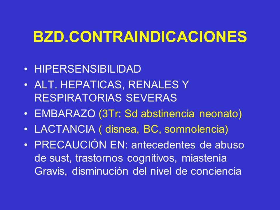 BZD.CONTRAINDICACIONES HIPERSENSIBILIDAD ALT. HEPATICAS, RENALES Y RESPIRATORIAS SEVERAS EMBARAZO (3Tr: Sd abstinencia neonato) LACTANCIA ( disnea, BC