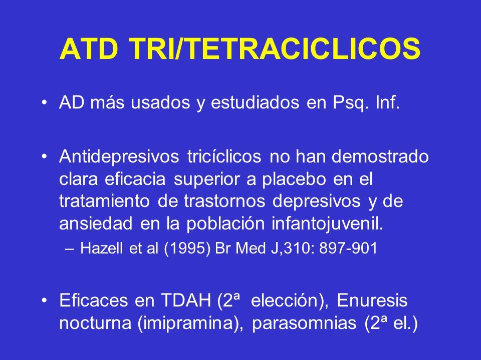ATD TRI/TETRACICLICOS AD más usados y estudiados en Psq. Inf. Antidepresivos tricíclicos no han demostrado clara eficacia superior a placebo en el tra