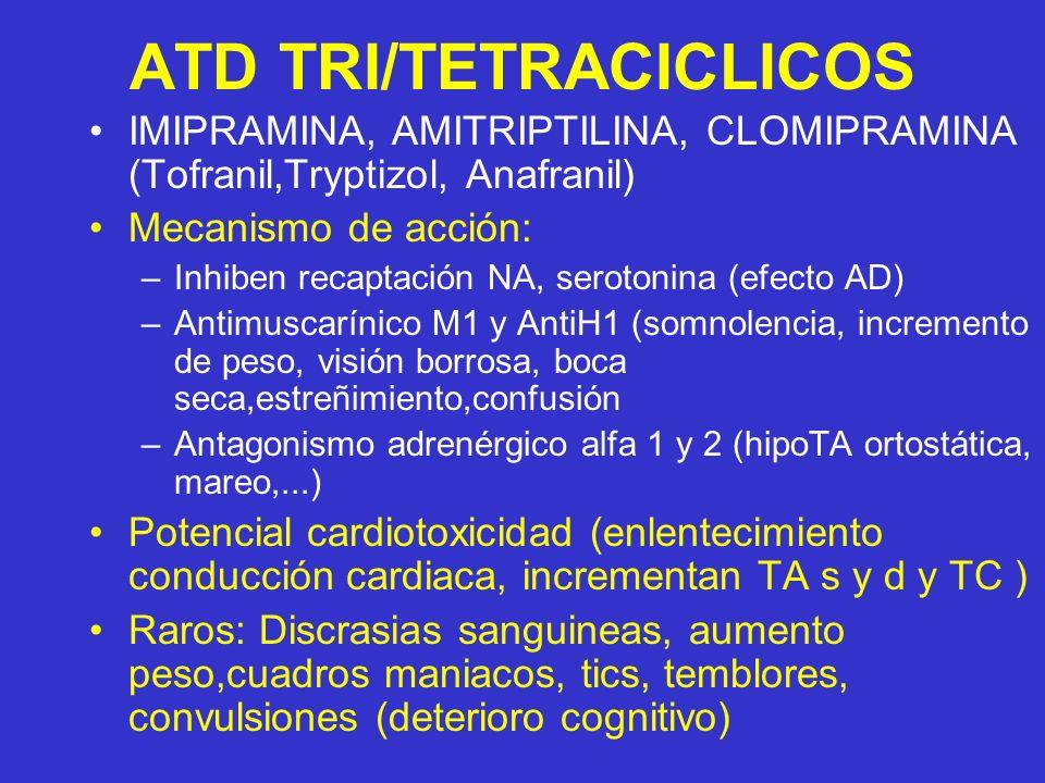ATD TRI/TETRACICLICOS IMIPRAMINA, AMITRIPTILINA, CLOMIPRAMINA (Tofranil,Tryptizol, Anafranil) Mecanismo de acción: –Inhiben recaptación NA, serotonina (efecto AD) –Antimuscarínico M1 y AntiH1 (somnolencia, incremento de peso, visión borrosa, boca seca,estreñimiento,confusión –Antagonismo adrenérgico alfa 1 y 2 (hipoTA ortostática, mareo,...) Potencial cardiotoxicidad (enlentecimiento conducción cardiaca, incrementan TA s y d y TC ) Raros: Discrasias sanguineas, aumento peso,cuadros maniacos, tics, temblores, convulsiones (deterioro cognitivo)