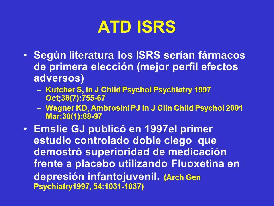 ATD ISRS Según literatura los ISRS serían fármacos de primera elección (mejor perfil efectos adversos) –Kutcher S, in J Child Psychol Psychiatry 1997 Oct;38(7):755-67 –Wagner KD, Ambrosini PJ in J Clin Child Psychol 2001 Mar;30(1):88-97 Emslie GJ publicó en 1997el primer estudio controlado doble ciego que demostró superioridad de medicación frente a placebo utilizando Fluoxetina en depresión infantojuvenil.
