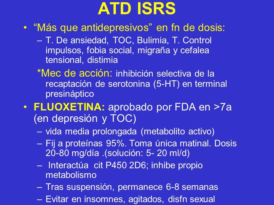 ATD ISRS Más que antidepresivos en fn de dosis: –T. De ansiedad, TOC, Bulimia, T. Control impulsos, fobia social, migraña y cefalea tensional, distimi