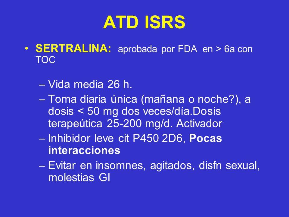 ATD ISRS SERTRALINA: aprobada por FDA en > 6a con TOC –Vida media 26 h.