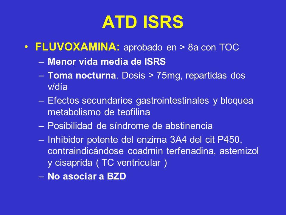 ATD ISRS FLUVOXAMINA: aprobado en > 8a con TOC –Menor vida media de ISRS –Toma nocturna. Dosis > 75mg, repartidas dos v/día –Efectos secundarios gastr