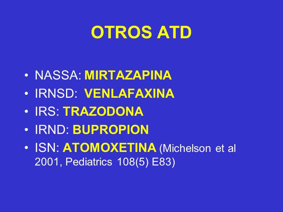 OTROS ATD NASSA: MIRTAZAPINA IRNSD: VENLAFAXINA IRS: TRAZODONA IRND: BUPROPION ISN: ATOMOXETINA (Michelson et al 2001, Pediatrics 108(5) E83)