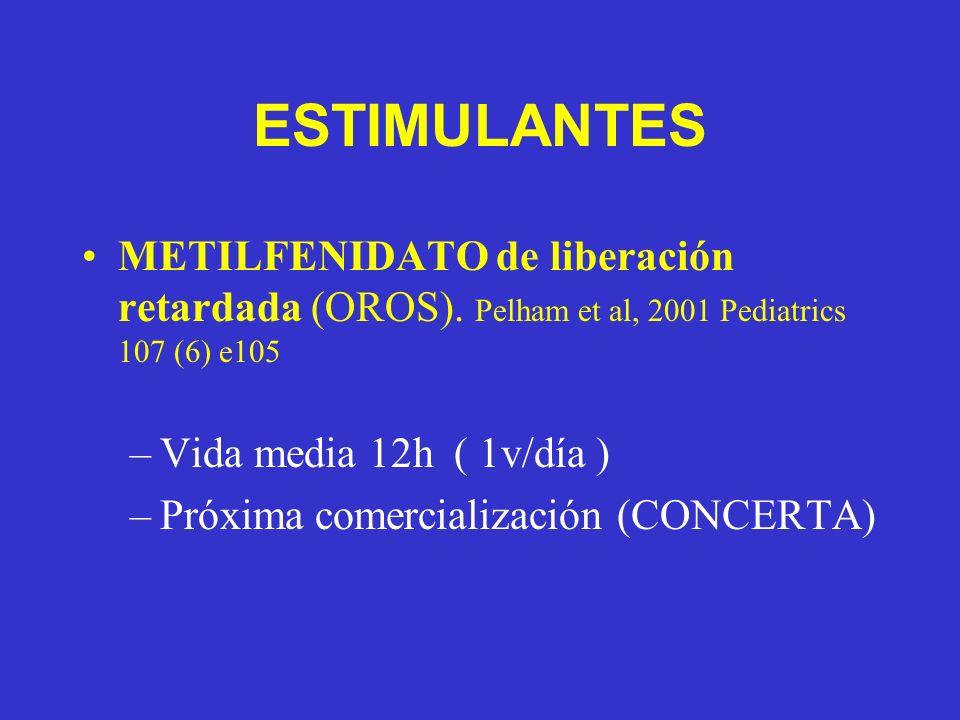 ESTIMULANTES METILFENIDATO de liberación retardada (OROS). Pelham et al, 2001 Pediatrics 107 (6) e105 –Vida media 12h ( 1v/día ) –Próxima comercializa