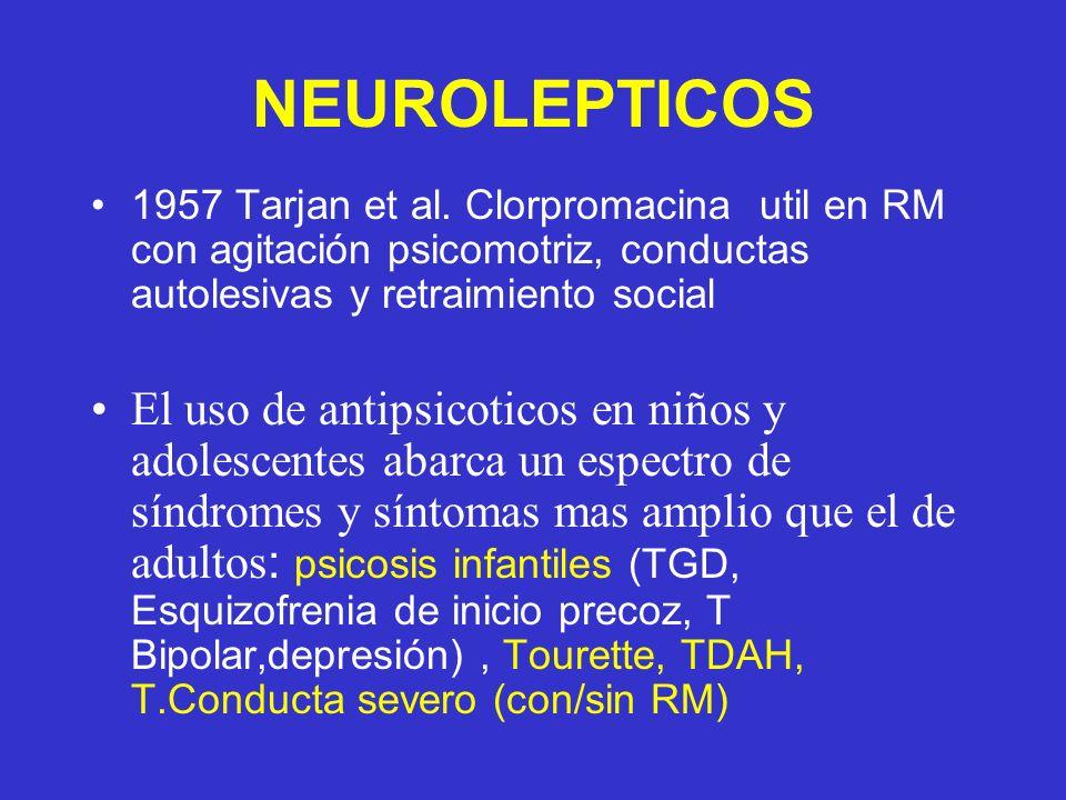 NEUROLEPTICOS 1957 Tarjan et al. Clorpromacina util en RM con agitación psicomotriz, conductas autolesivas y retraimiento social El uso de antipsicoti