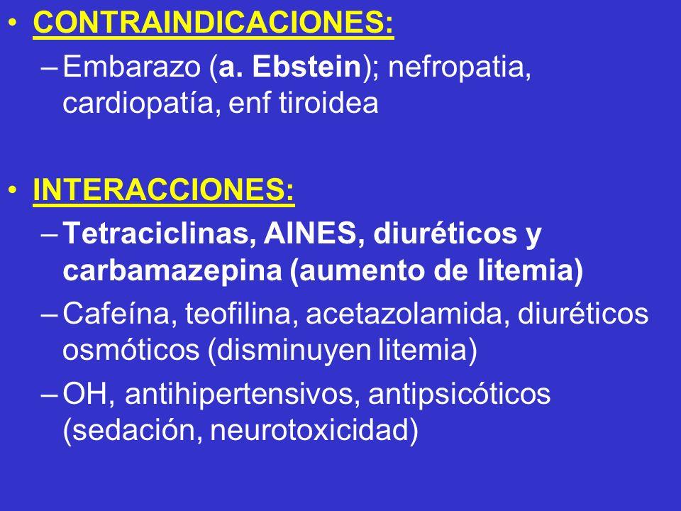 CONTRAINDICACIONES: –Embarazo (a. Ebstein); nefropatia, cardiopatía, enf tiroidea INTERACCIONES: –Tetraciclinas, AINES, diuréticos y carbamazepina (au
