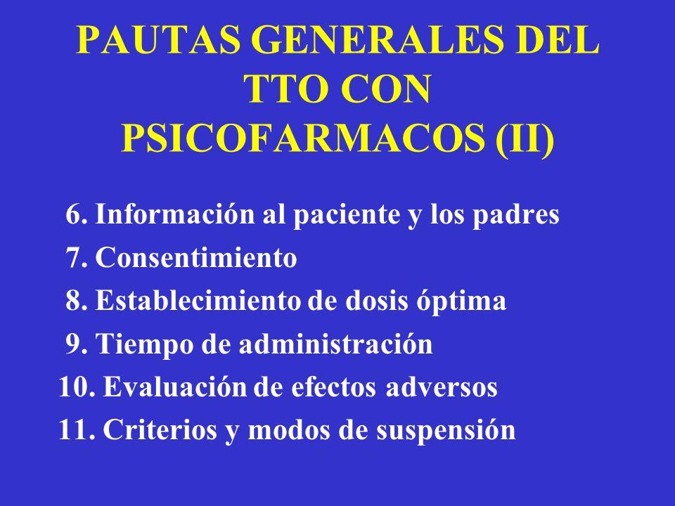 PAUTAS GENERALES DEL TTO CON PSICOFARMACOS (II) 6. Información al paciente y los padres 7. Consentimiento 8. Establecimiento de dosis óptima 9. Tiempo