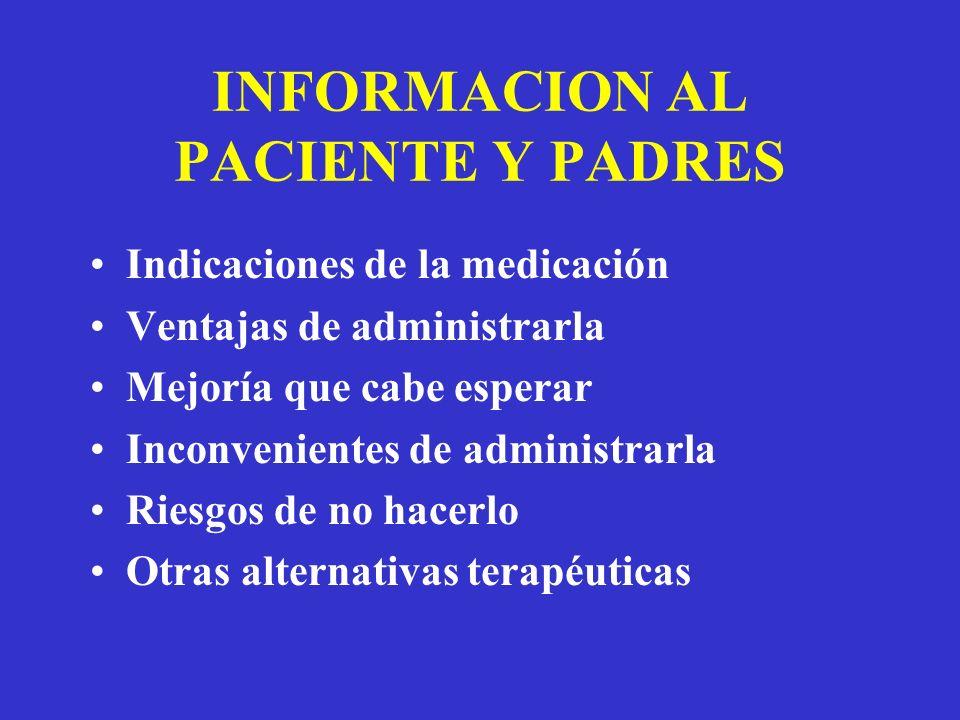 INFORMACION AL PACIENTE Y PADRES Indicaciones de la medicación Ventajas de administrarla Mejoría que cabe esperar Inconvenientes de administrarla Riesgos de no hacerlo Otras alternativas terapéuticas
