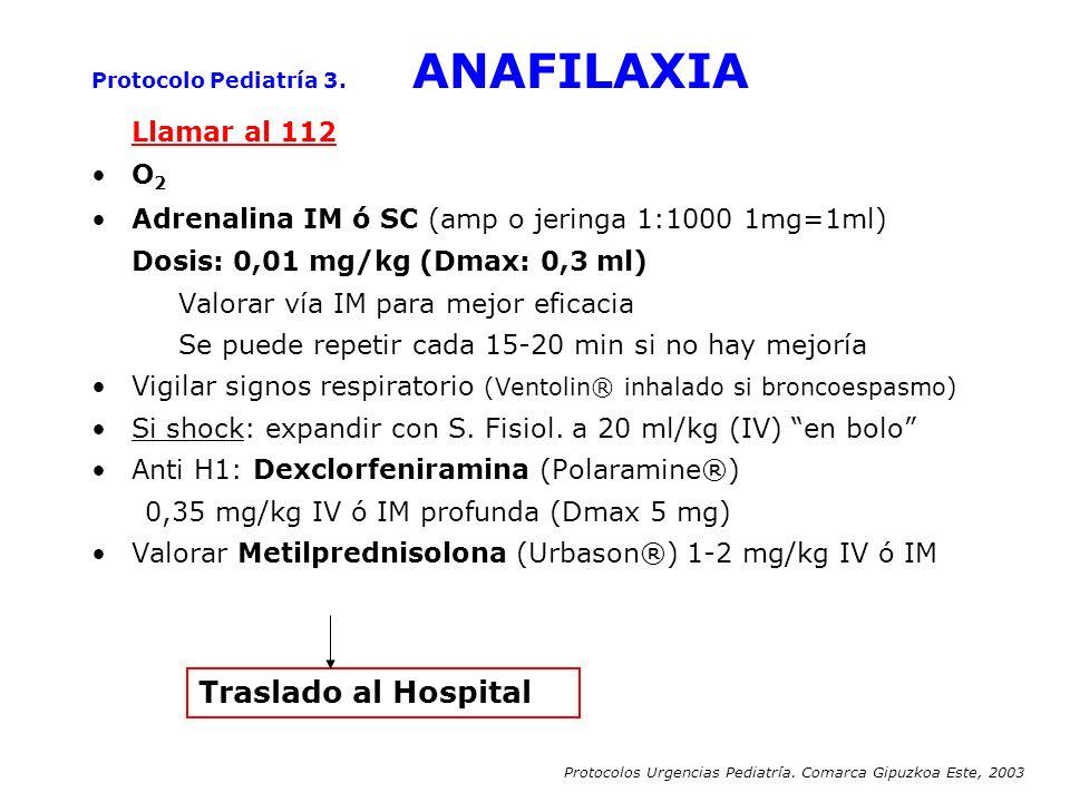 Llamar al 112 O 2 Adrenalina IM ó SC (amp o jeringa 1:1000 1mg=1ml) Dosis: 0,01 mg/kg (Dmax: 0,3 ml) Valorar vía IM para mejor eficacia Se puede repet