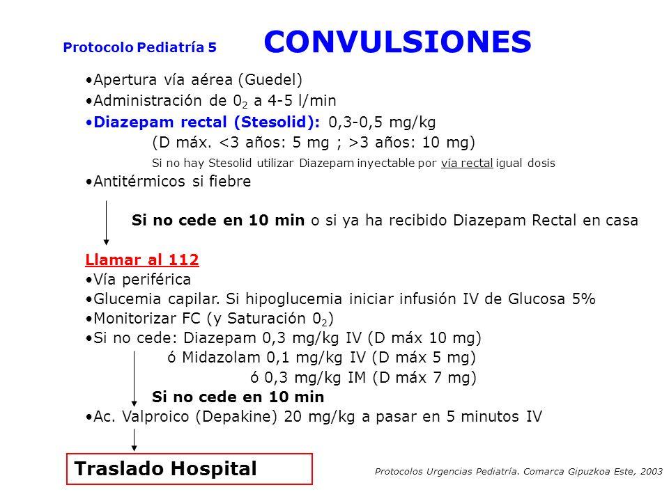 Protocolo Pediatría 5 CONVULSIONES Apertura vía aérea (Guedel) Administración de 0 2 a 4-5 l/min Diazepam rectal (Stesolid): 0,3-0,5 mg/kg (D máx. 3 a