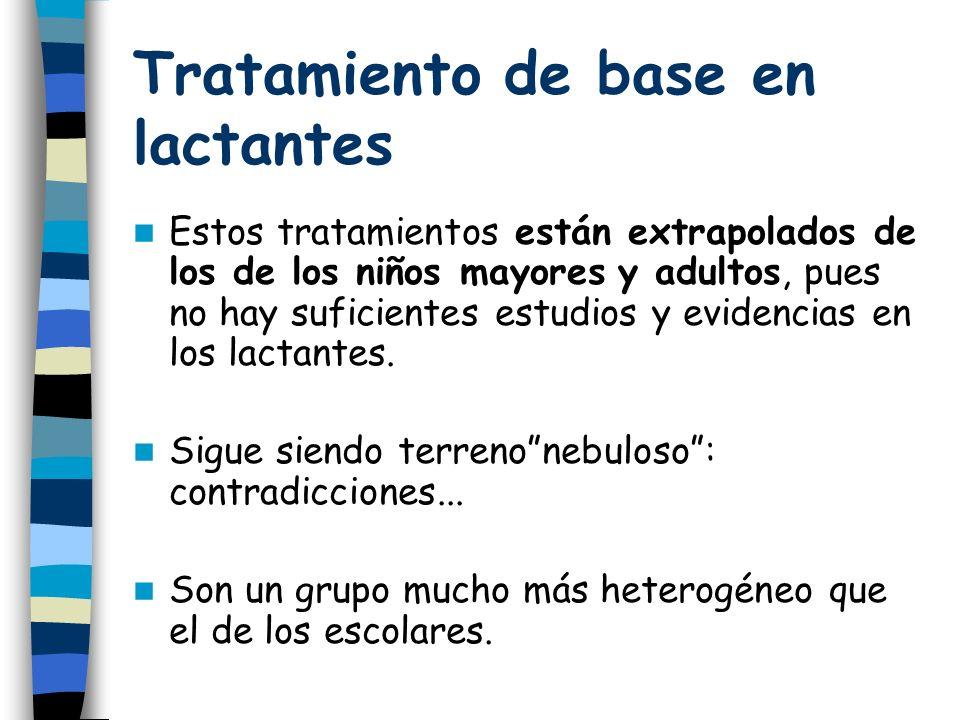 Tratamiento de base en lactantes Estos tratamientos están extrapolados de los de los niños mayores y adultos, pues no hay suficientes estudios y evidencias en los lactantes.