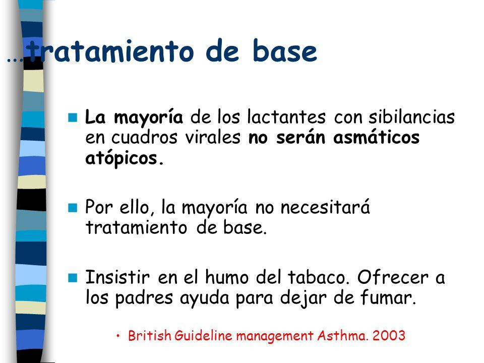 …tratamiento de base La mayoría de los lactantes con sibilancias en cuadros virales no serán asmáticos atópicos.