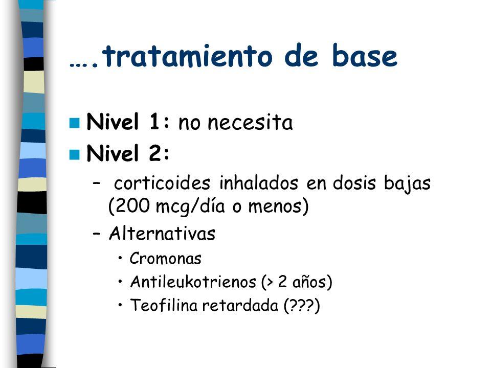 ….tratamiento de base Nivel 1: no necesita Nivel 2: – corticoides inhalados en dosis bajas (200 mcg/día o menos) –Alternativas Cromonas Antileukotrienos (> 2 años) Teofilina retardada (???)