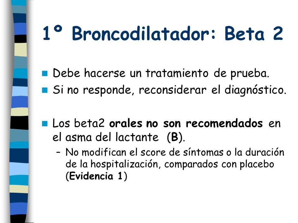 1º Broncodilatador: Beta 2 Debe hacerse un tratamiento de prueba.