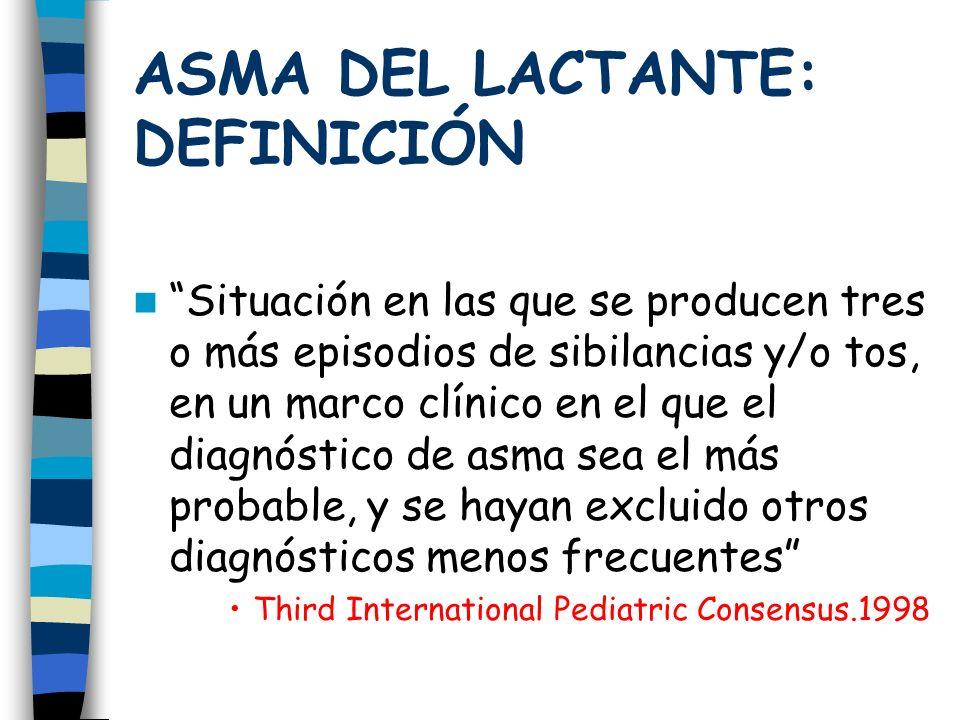 ASMA DEL LACTANTE: DEFINICIÓN Situación en las que se producen tres o más episodios de sibilancias y/o tos, en un marco clínico en el que el diagnóstico de asma sea el más probable, y se hayan excluido otros diagnósticos menos frecuentes Third International Pediatric Consensus.1998