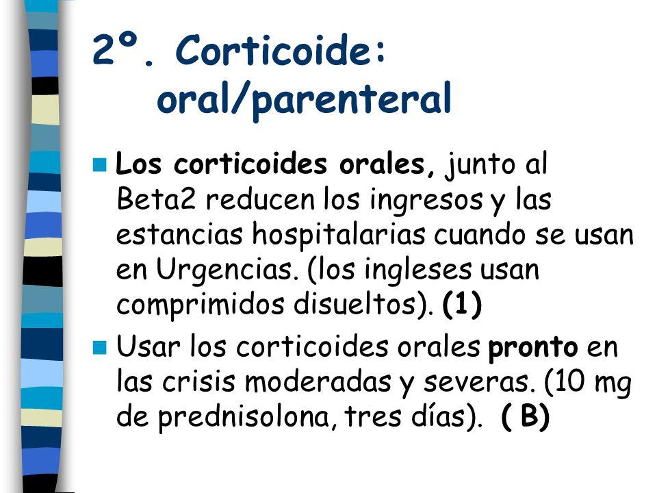 2º. Corticoide: oral/parenteral Los corticoides orales, junto al Beta2 reducen los ingresos y las estancias hospitalarias cuando se usan en Urgencias.