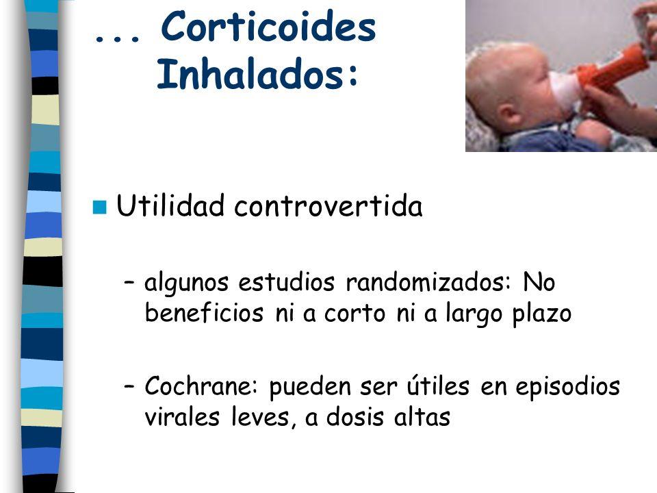 ... Corticoides Inhalados: Utilidad controvertida –algunos estudios randomizados: No beneficios ni a corto ni a largo plazo –Cochrane: pueden ser útil