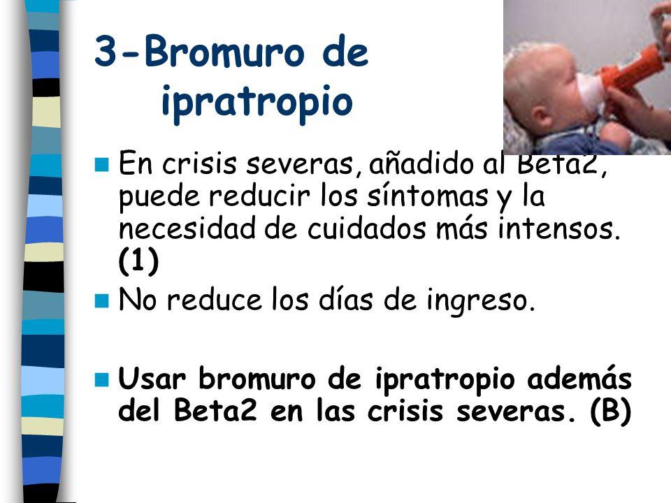 3-Bromuro de ipratropio En crisis severas, añadido al Beta2, puede reducir los síntomas y la necesidad de cuidados más intensos.