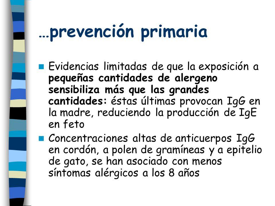 …prevención primaria Evidencias limitadas de que la exposición a pequeñas cantidades de alergeno sensibiliza más que las grandes cantidades: éstas últimas provocan IgG en la madre, reduciendo la producción de IgE en feto Concentraciones altas de anticuerpos IgG en cordón, a polen de gramíneas y a epitelio de gato, se han asociado con menos síntomas alérgicos a los 8 años