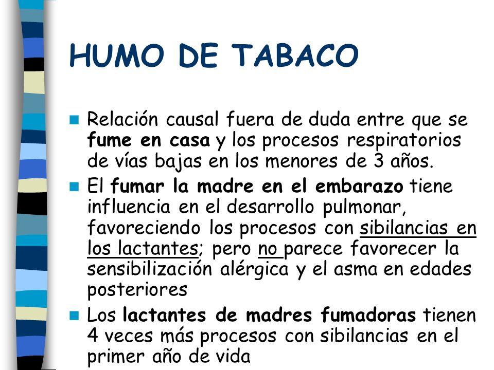 HUMO DE TABACO Relación causal fuera de duda entre que se fume en casa y los procesos respiratorios de vías bajas en los menores de 3 años.