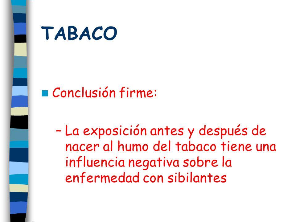 TABACO Conclusión firme: –La exposición antes y después de nacer al humo del tabaco tiene una influencia negativa sobre la enfermedad con sibilantes
