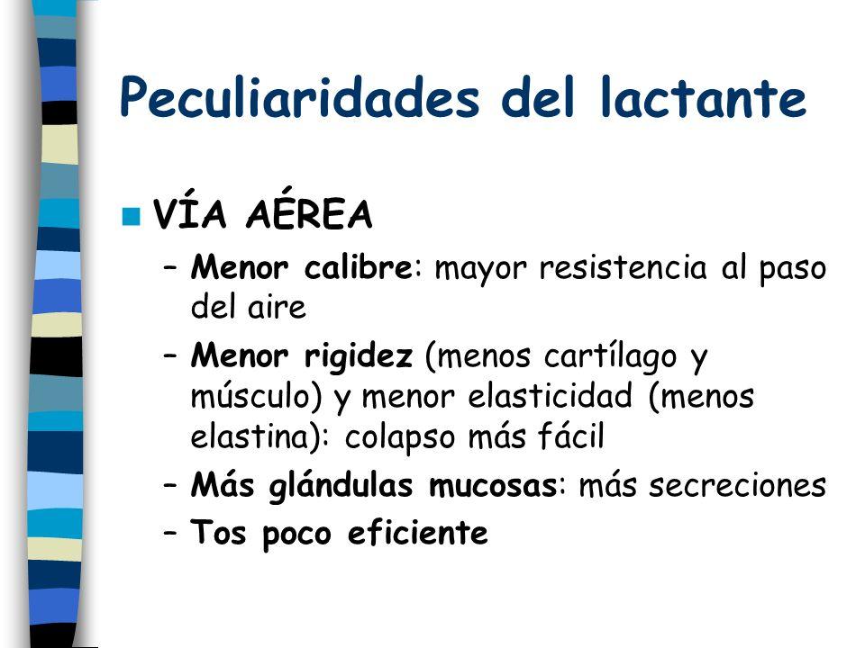 Peculiaridades del lactante VÍA AÉREA –Menor calibre: mayor resistencia al paso del aire –Menor rigidez (menos cartílago y músculo) y menor elasticidad (menos elastina): colapso más fácil –Más glándulas mucosas: más secreciones –Tos poco eficiente