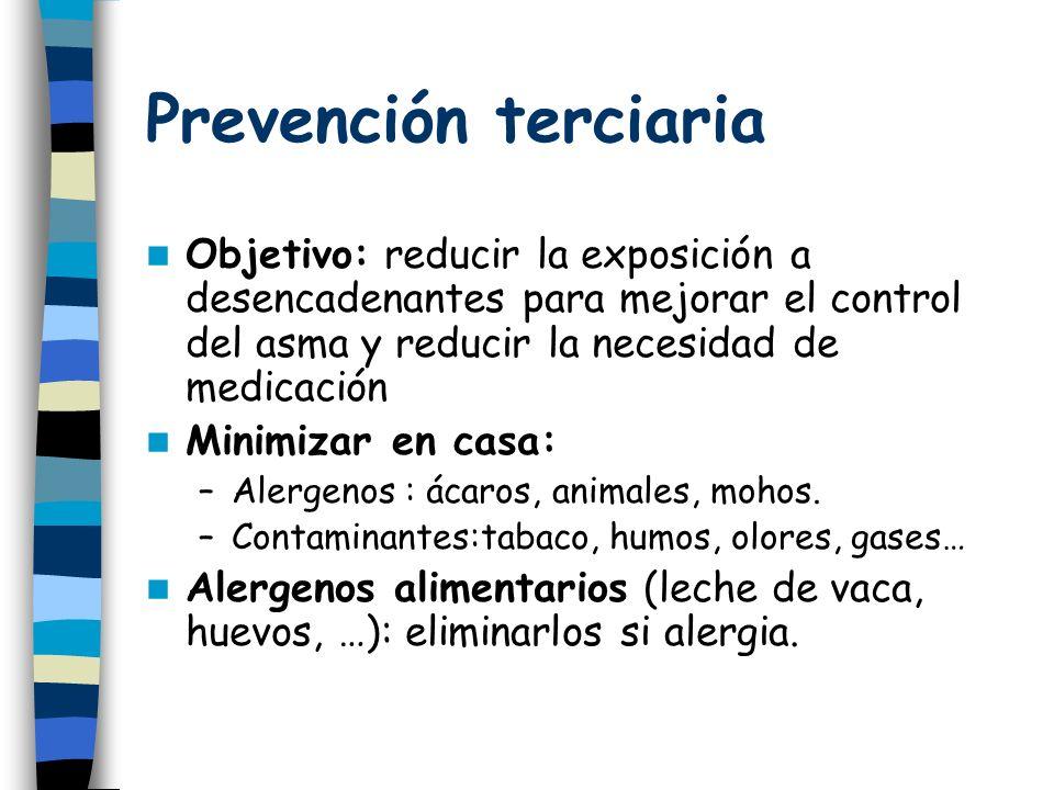 Prevención terciaria Objetivo: reducir la exposición a desencadenantes para mejorar el control del asma y reducir la necesidad de medicación Minimizar en casa: –Alergenos : ácaros, animales, mohos.