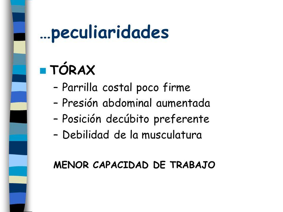 …peculiaridades TÓRAX –Parrilla costal poco firme –Presión abdominal aumentada –Posición decúbito preferente –Debilidad de la musculatura MENOR CAPACIDAD DE TRABAJO
