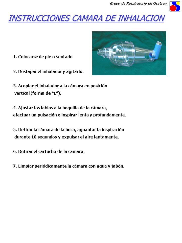 1. Colocarse de pie o sentado 2. Destapar el inhalador y agitarlo. 3. Acoplar el inhalador a la cámara en posición vertical (forma de L). 4. Ajustar l
