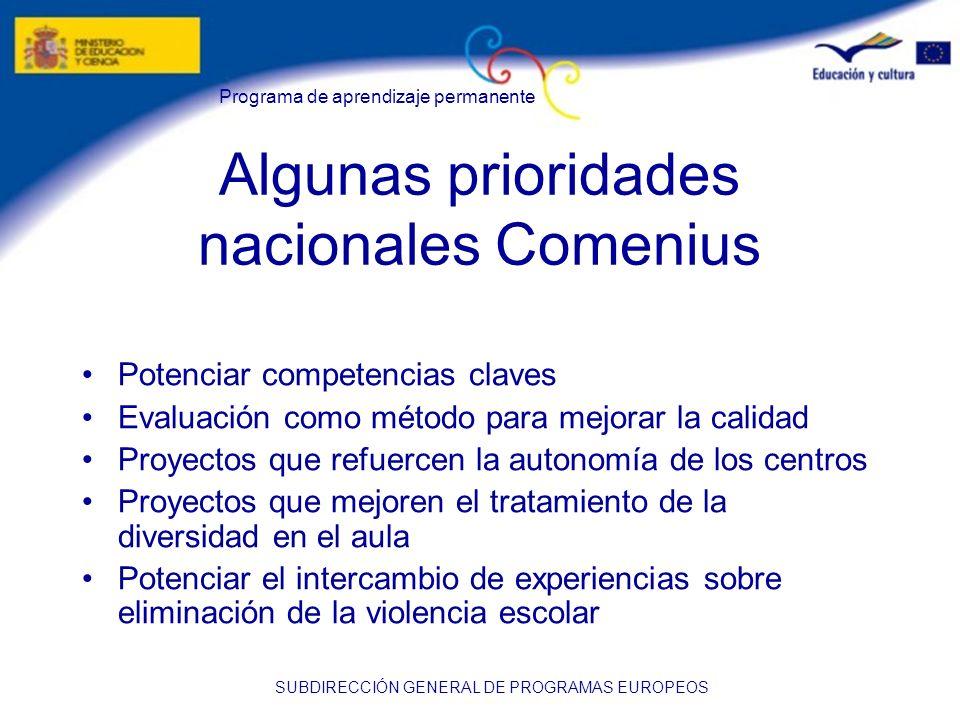 Programa de aprendizaje permanente SUBDIRECCIÓN GENERAL DE PROGRAMAS EUROPEOS Algunas prioridades nacionales Comenius Potenciar competencias claves Ev