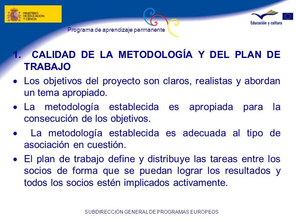 Programa de aprendizaje permanente SUBDIRECCIÓN GENERAL DE PROGRAMAS EUROPEOS 1. CALIDAD DE LA METODOLOGÍA Y DEL PLAN DE TRABAJO Los objetivos del pro