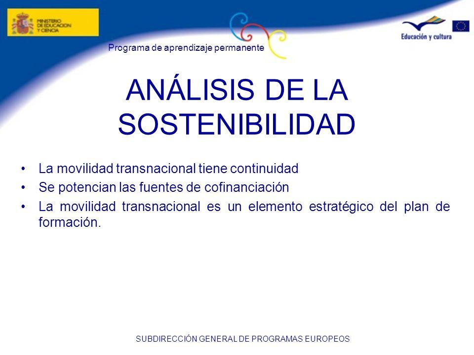 Programa de aprendizaje permanente SUBDIRECCIÓN GENERAL DE PROGRAMAS EUROPEOS ANÁLISIS DE LA SOSTENIBILIDAD La movilidad transnacional tiene continuid